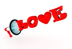 3d megaphone with glossy love word. 3d megaphone and word love Stock Images