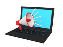 3d megaphone on laptop depicting online marketing concept. Isolated on white Royalty Free Stock Photography