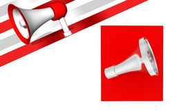 3d megaphone over red box. 3d rendering , front angle view Royalty Free Stock Photo