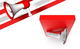 3d megaphone over red box. 3d rendering , top angle view Royalty Free Stock Photography