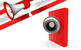 3d megaphone over red box. 3d rendering , front angle view Royalty Free Stock Photography
