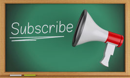 3d megaphone with subscribe text on blackboard. Stock Photography