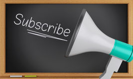 3d megaphone with subscribe text on blackboard. Stock Images