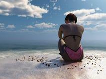 3d meisje in roze zwempakzitting op strand Royalty-vrije Stock Afbeelding