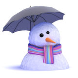 3d Melting snowman under umbrella Royalty Free Stock Photography