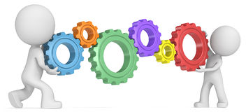 3D men balancing gears Royalty Free Stock Photos