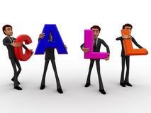 3d men carry call text concept Stock Images