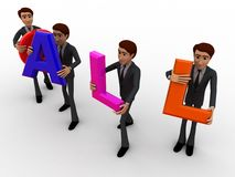 3d men carry call text concept Royalty Free Stock Photography
