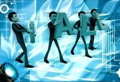 3d men carry call text illustration Stock Photos