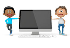 3D men with a computer Royalty Free Stock Photography