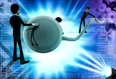 3d men connect wire to globe illustration Stock Image