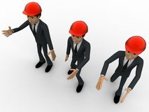 3d men construction engineer  happy and walking concept Stock Image