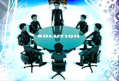 3d men doing meeting to find solution of problem illustration Royalty Free Stock Photos