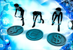 3d men with dollar euro and yen sign illustration Royalty Free Stock Photography