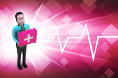 3d men with first aid box. In color background Stock Photos