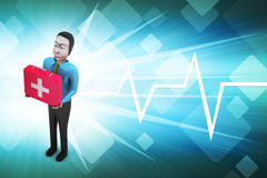 3d men with first aid box. In color background Royalty Free Stock Photography