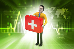 3d men with first aid box. In color background Royalty Free Stock Image
