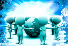 3d men gathered around earth model illustration Royalty Free Stock Images