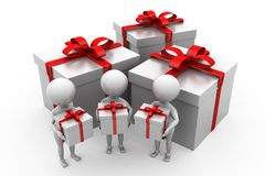 3d men gifts concept Royalty Free Stock Photos