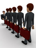 3d men going for interview in long queue concept Royalty Free Stock Image