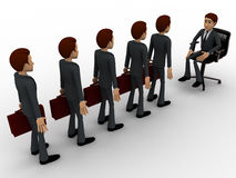 3d men going for interview in long queue concept Royalty Free Stock Images