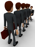 3d men going for interview in long queue concept Stock Image