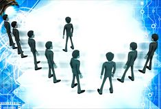 3d men group with team leader in front illustration Stock Photo