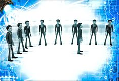 3d men group with team leader in front illustration Royalty Free Stock Photo