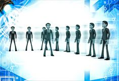 3d men group with team leader in front illustration Stock Photos