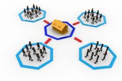 3d men groups moving towards destination concept Stock Photography