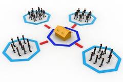 3d men groups moving towards destination concept Stock Images