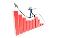 3d men. Growth Chart and 3d men vector illustration