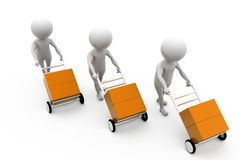 3d men hand truck concept Royalty Free Stock Photos