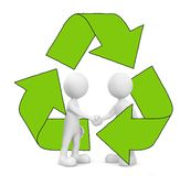 3D Men Handshake with Recycle Symbol Stock Image