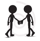 3d men in handshake silhouette. On white Royalty Free Stock Photos