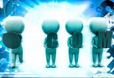 3d men holding .com text illustration Stock Photo
