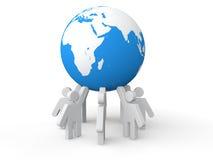 3D men holding earth globe Stock Photos