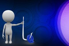 3d men holding a hook with at the rate symbol illustration Royalty Free Stock Photos