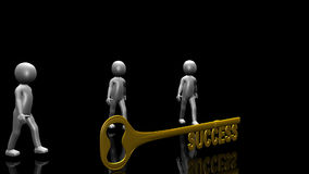 3D men holding the key to success Royalty Free Stock Photography