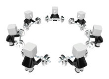 3d men holding their barbell together. 3D Square Man Series. Royalty Free Stock Photos