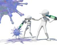 3d men hunting virus vith a syringe. 3D rendering Royalty Free Stock Photography