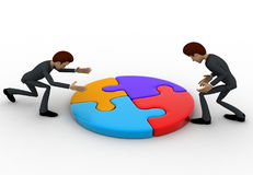 3d men joining colourful puzzles concept Royalty Free Stock Photography