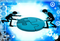3d men joining colourful puzzles illustration Stock Photo