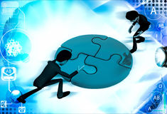 3d men joining colourful puzzles illustration Royalty Free Stock Photo