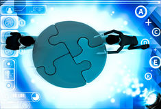 3d men joining colourful puzzles illustration Royalty Free Stock Photos