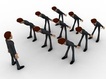 3d men leaning to boss with respect concept Royalty Free Stock Photo