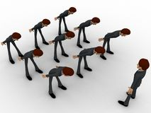 3d men leaning to boss with respect concept Stock Image