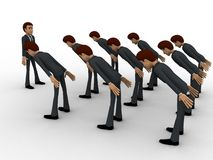 3d men leaning to boss with respect concept Royalty Free Stock Photos