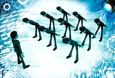 3d men leaning to boss with respect illustration Royalty Free Stock Images