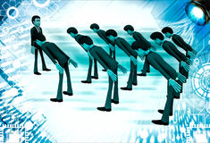 3d men leaning to boss with respect illustration Stock Image